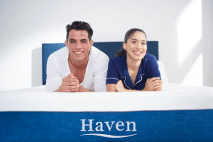 couple laying on a Haven mattress
