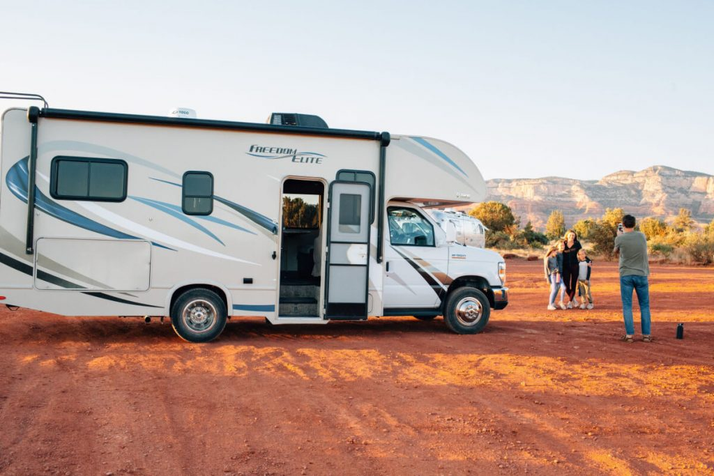 An RV motor home
